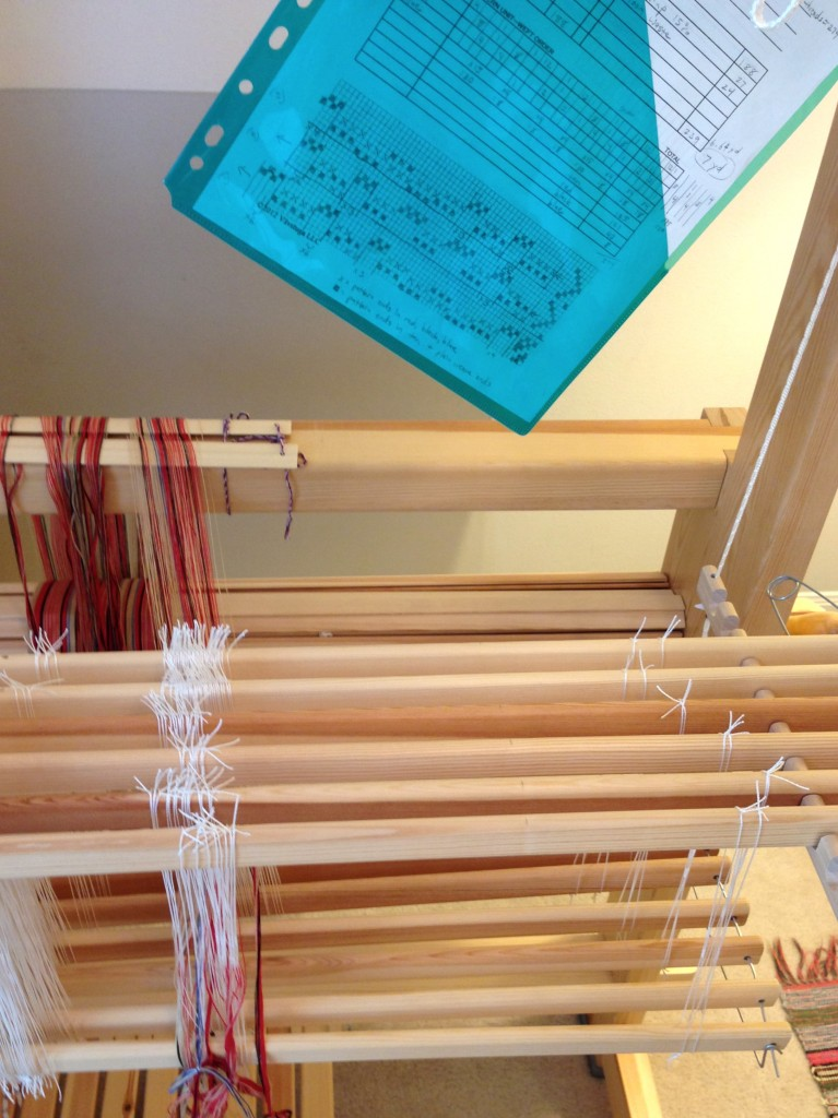 threading draft for handwoven rosepath band