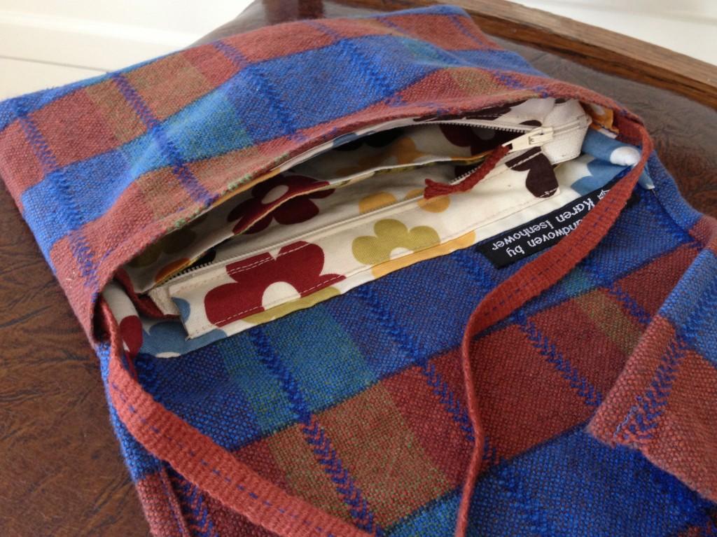 Inside of handwoven bag