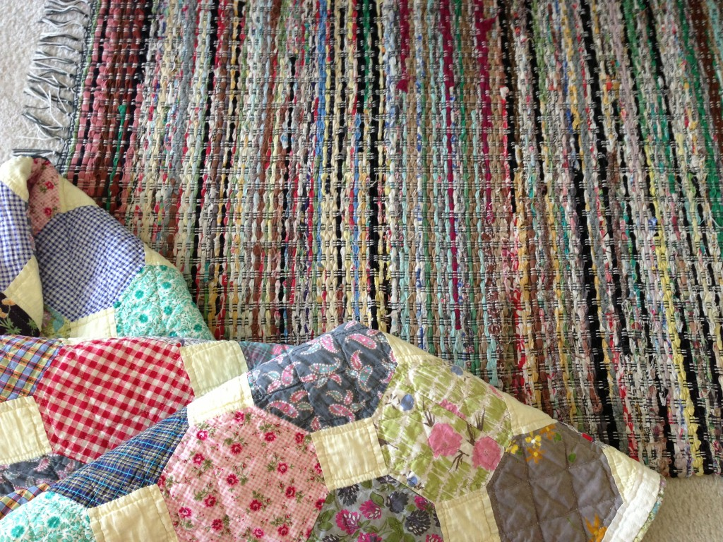 My grandmother's quilt and rag rug from old clothes