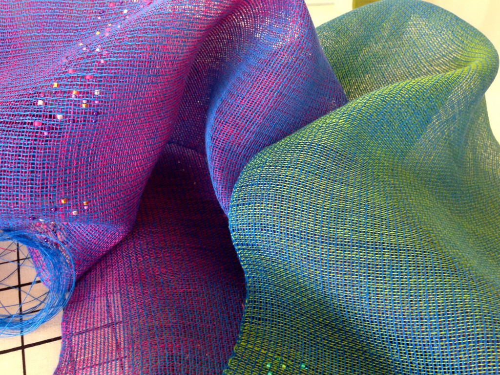 Iridescent linen fabric just off the loom!