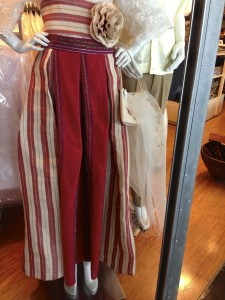 Mannequin with handwoven skirt at Manila Airport shop.