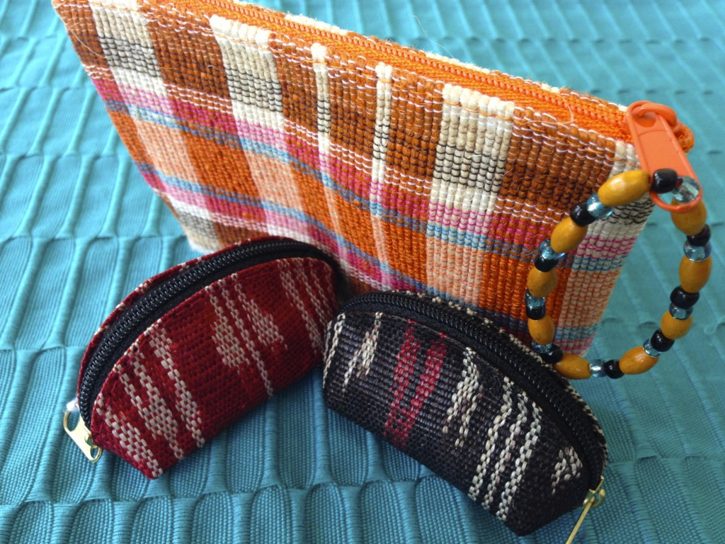 Tiny ikat woven coin purses from The Philippines.