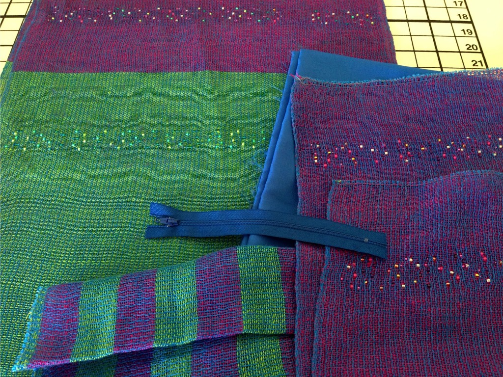 Creating bags with handwoven linen, with beads woven in.