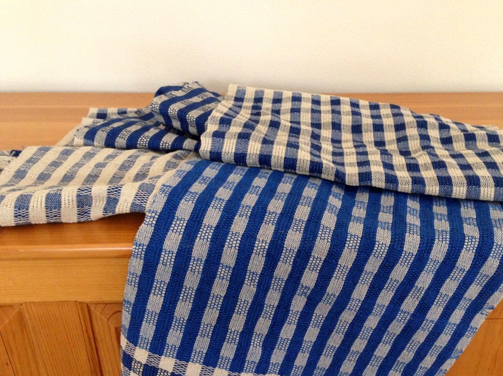Handwoven hand towels, ready to be washed and hemmed.