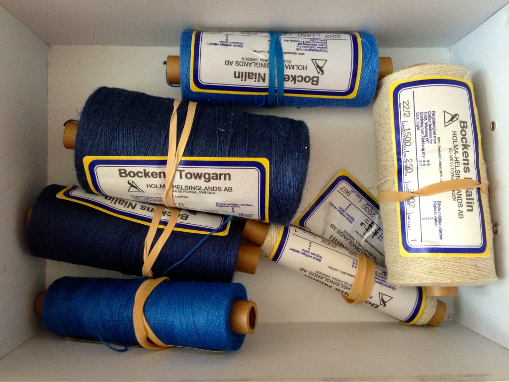 Cottolin and tow linen for making handwoven kitchen towels.