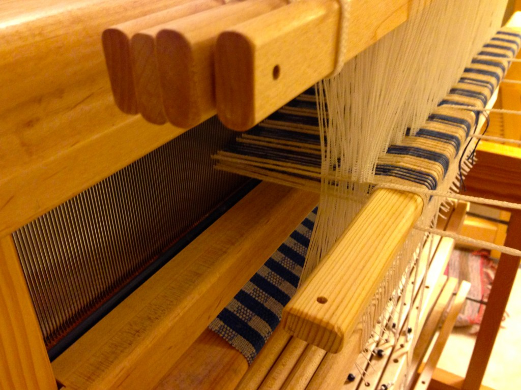 Very end of the warp. Squeezing out the last inch.