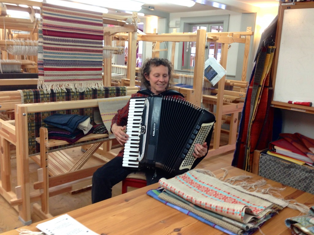 Accordion music in the weaving studio