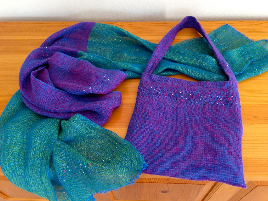 Handwoven linen and beads fancy bag and iridescent wrap.