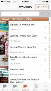 My Library - app that keeps a list of my weaving books