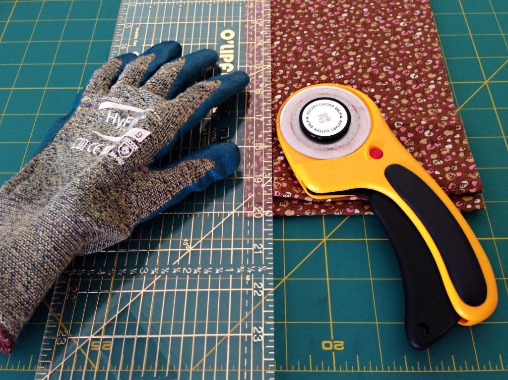 Tools for cutting fabric into strips for rag rugs.