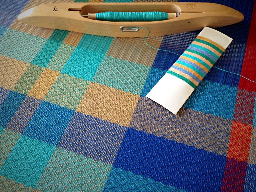 Color wrapping used to inspire weft sequence. Karen Isenhower