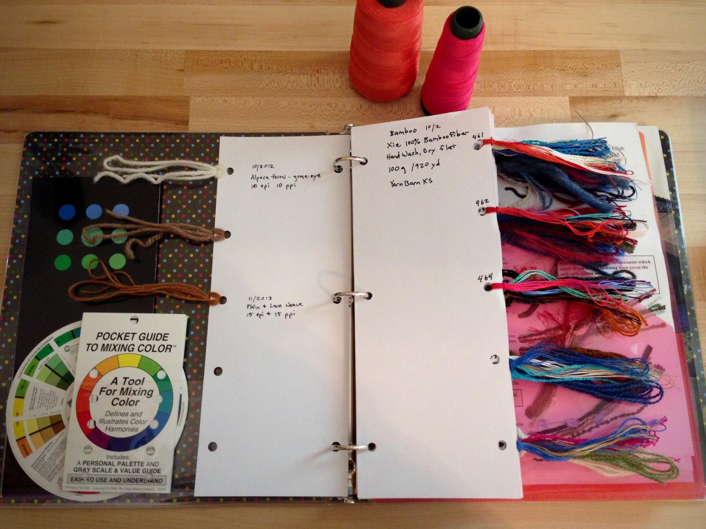Thread and yarn record notebook.