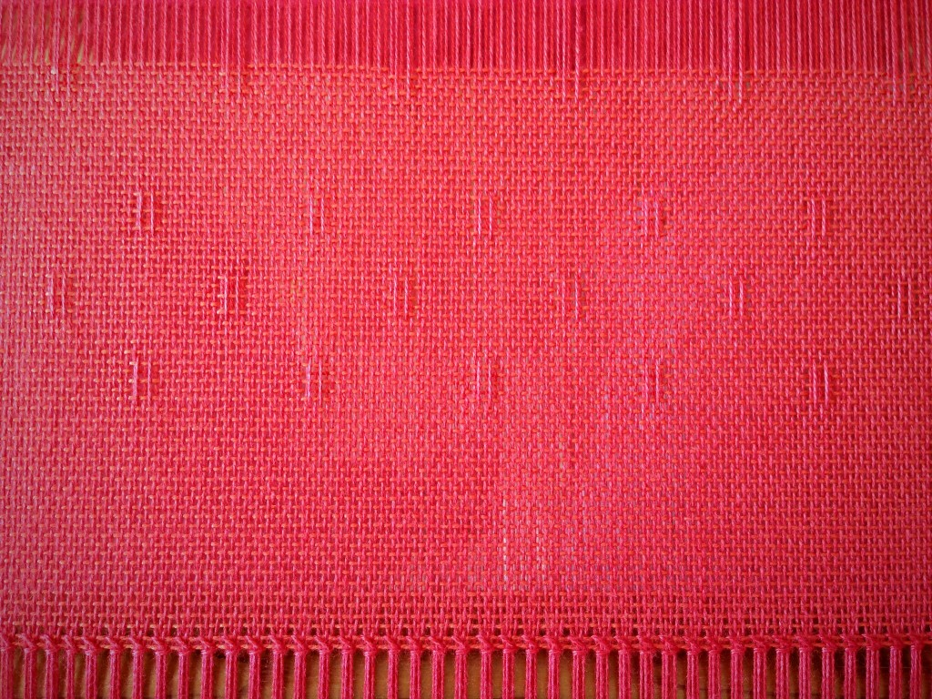 Hemstitching on the loom. Huck lace bamboo shawl.