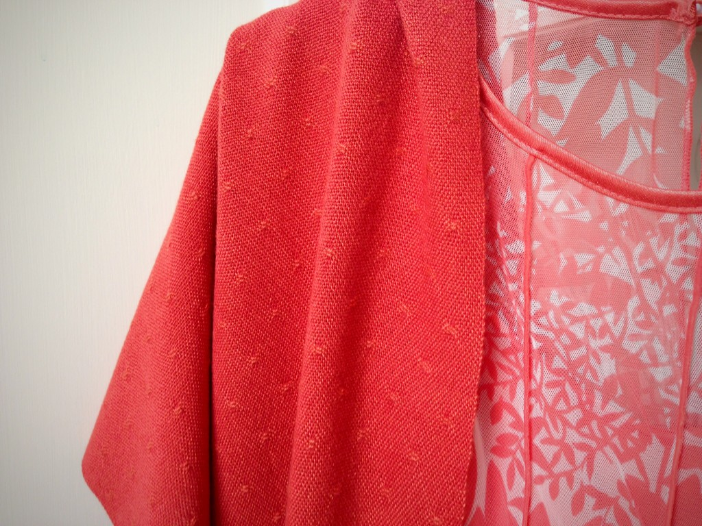 Finished handwoven coral bamboo huck lace shawl. Karen Isenhower