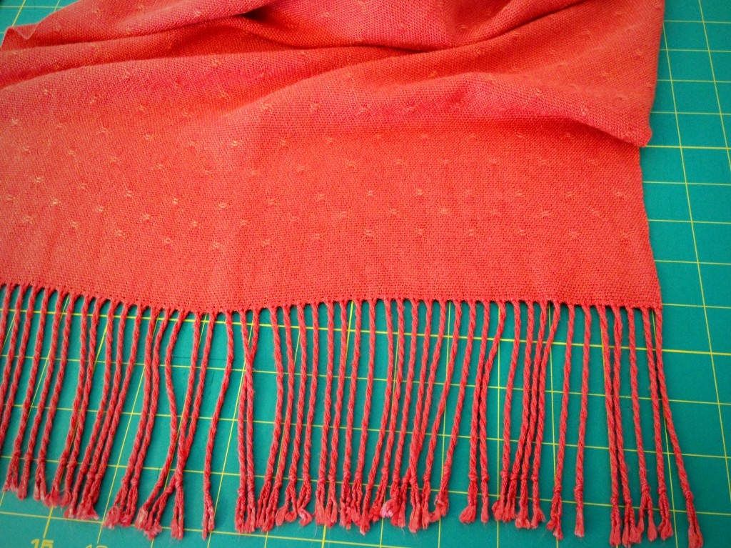 Bamboo Shawl, ready to trim edges of fringe. Explanation about twisting fringe.