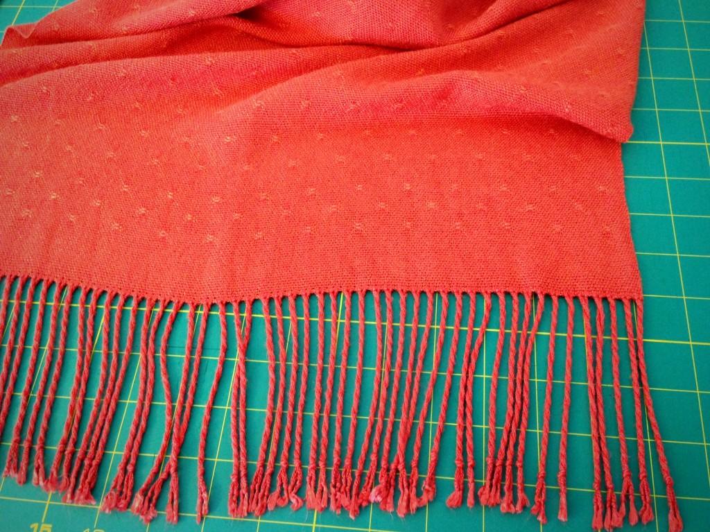 Bamboo Shawl, ready to trim edges of fringe. Explanation about twisting fringe.