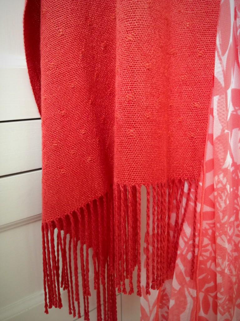 Finished Bamboo Huck Lace Shawl. Karen Isenhower