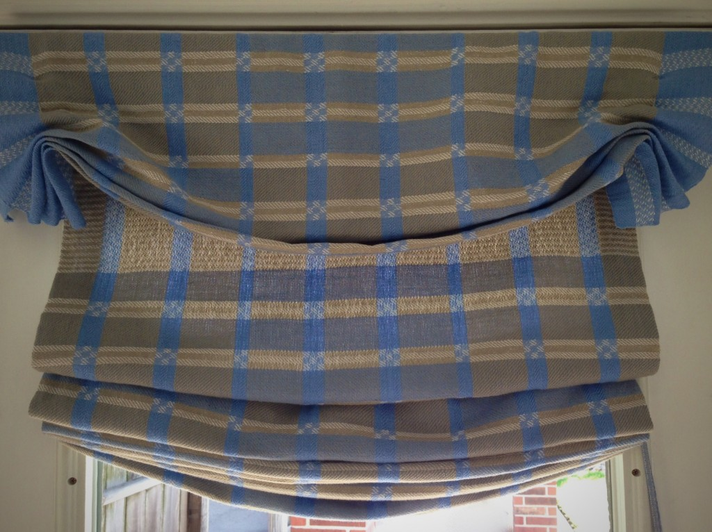 Handwoven Roman shades in two-block twill. Karen Isenhower