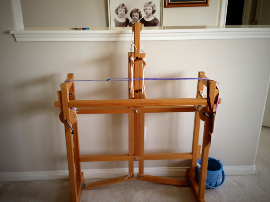 Two-treadle Glimakra band loom in use.