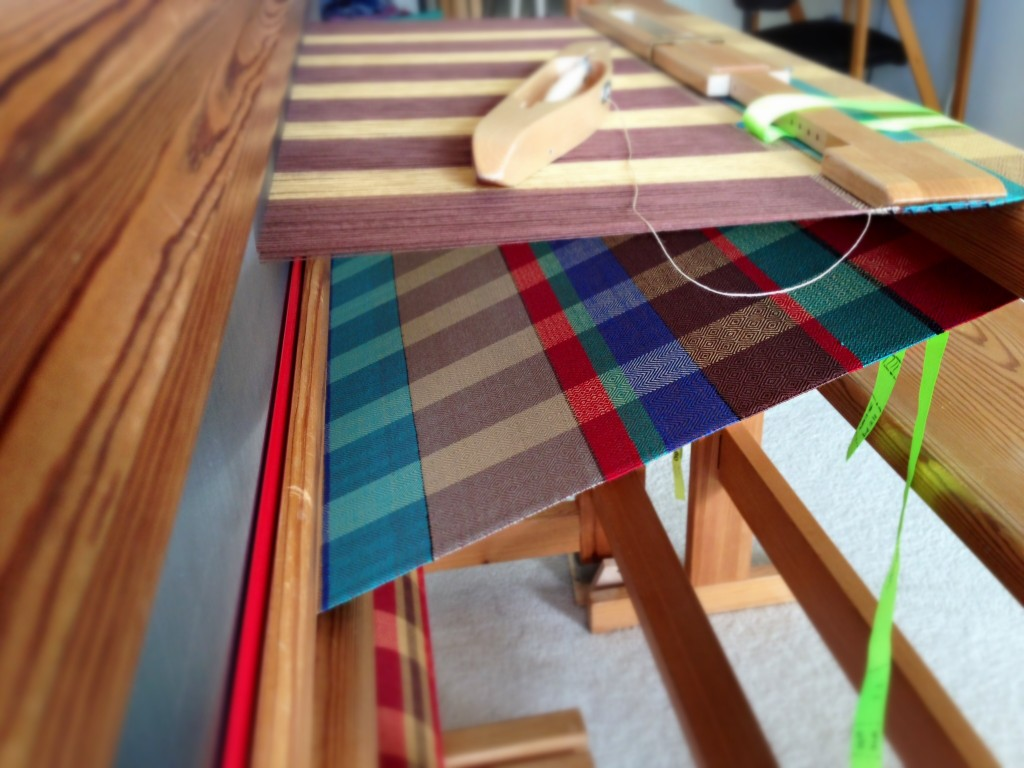 Nine-color towel on the loom. Karen Isenhower