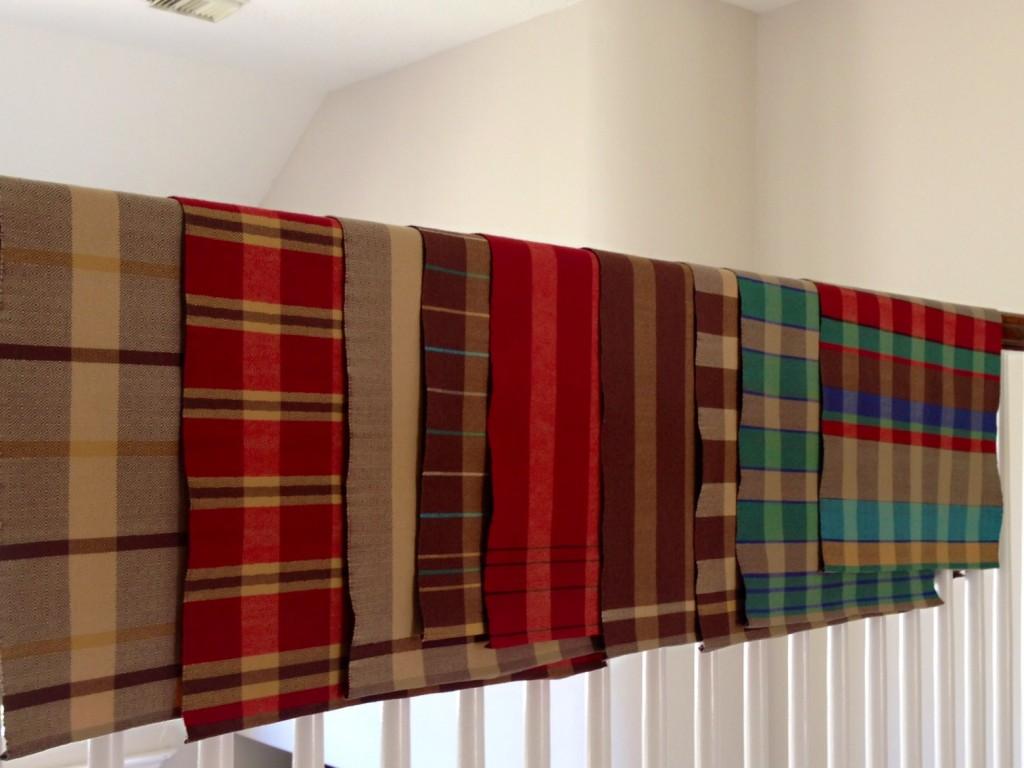 Nine goose-eye towels, pressed and ready to hem. Karen Isenhower