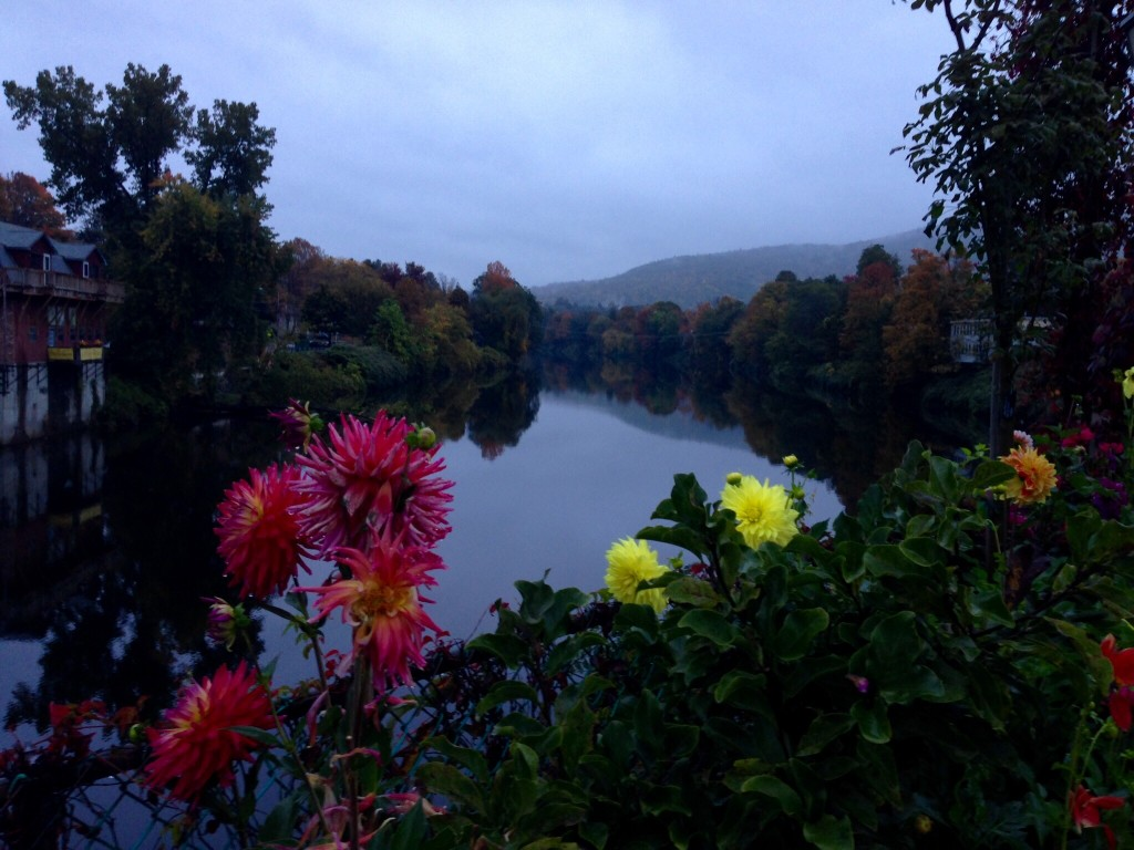 Autumn in Shelburne Falls, MA, Bridge of Flowers at dawn