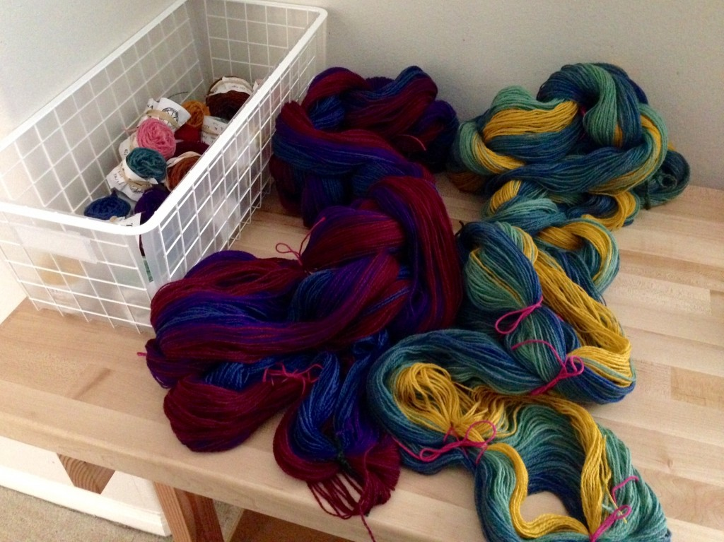 Warp chains for wool blanket, and what's left of eleven skeins.