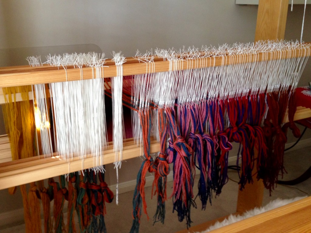 Threading heddles for double weave wool blanket.