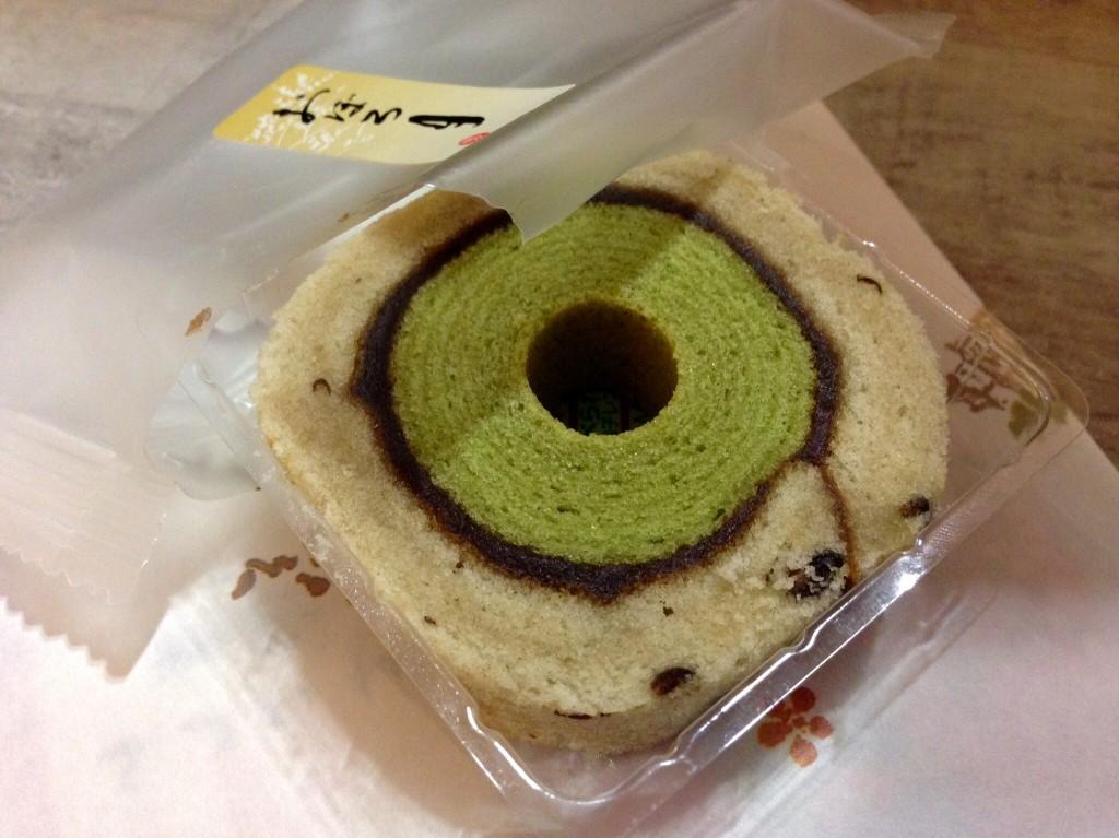 Green tea cake roll in Tokyo.