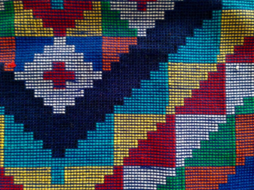 Detail of handwoven pillow cover from The Philippines.