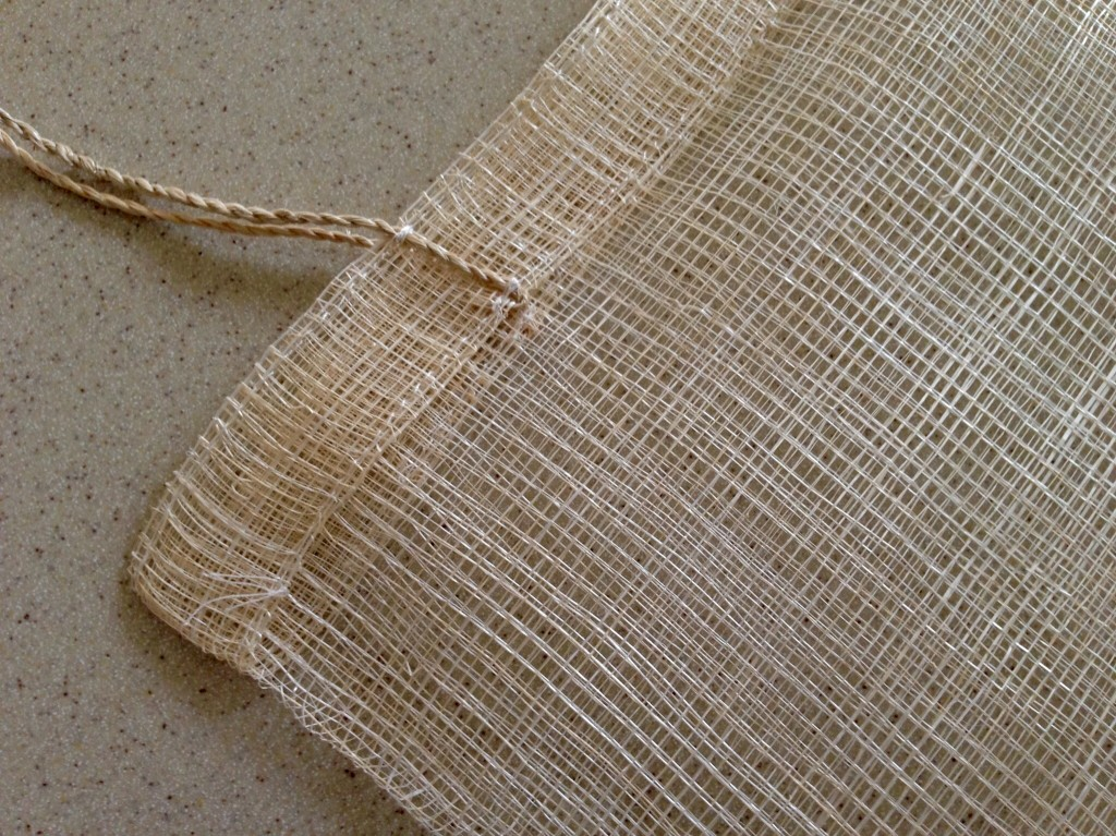 Detail of bag made from piña fibre.