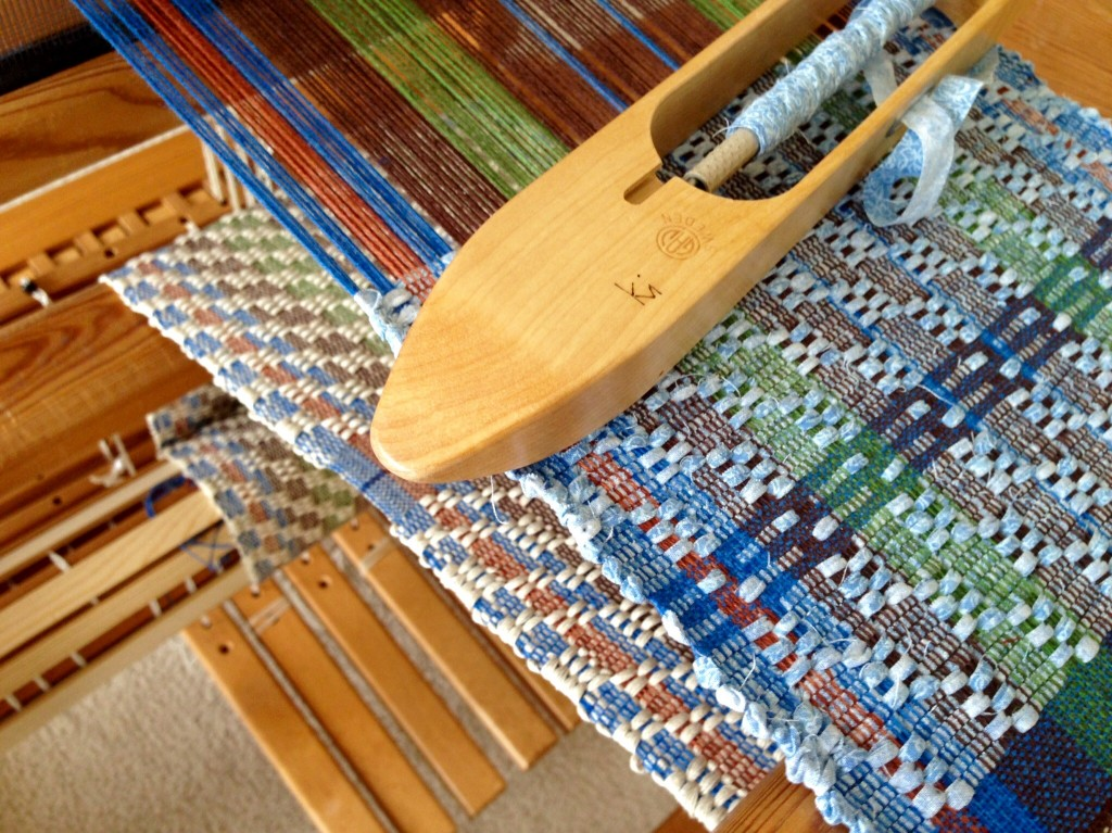 Rag weave table runner on the loom. Karen Isenhower