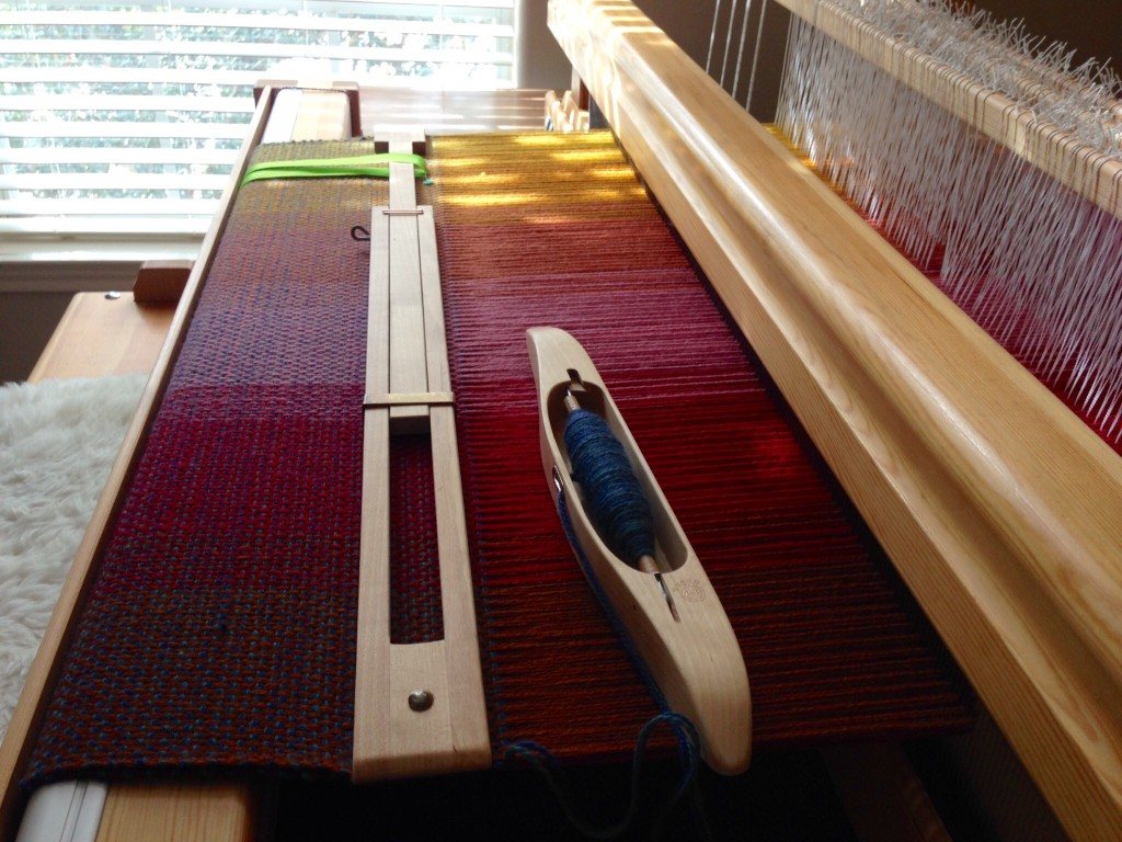Double-width blanket on the loom.