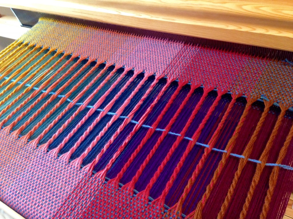 Upper layer of twisted fringe on double-width wool blanket.
