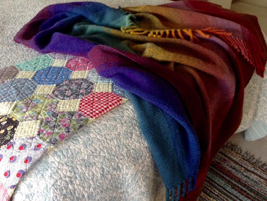 Richly colored handwoven double width wool blanket. Karen Isenhower