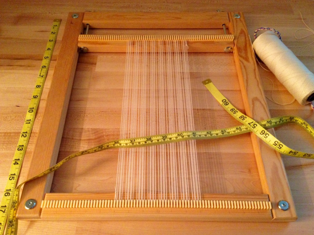 Preparing warp for tapestry diary on a frame loom.