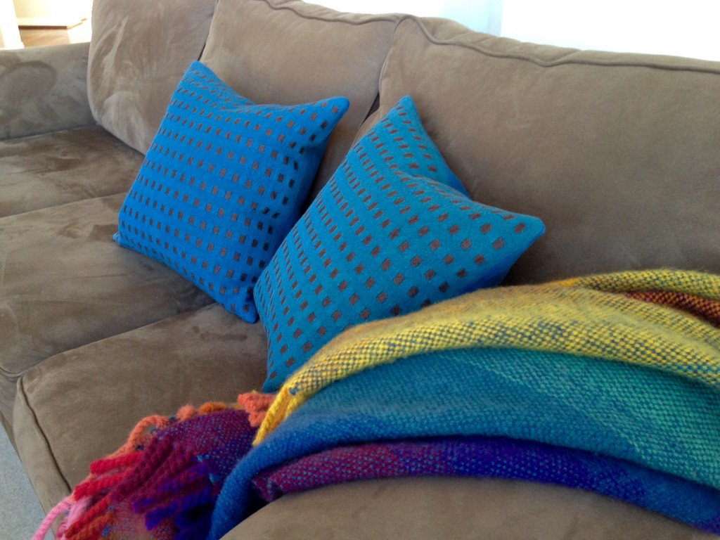 Handwoven linen dice weave down-filled pillows. Karen Isenhower