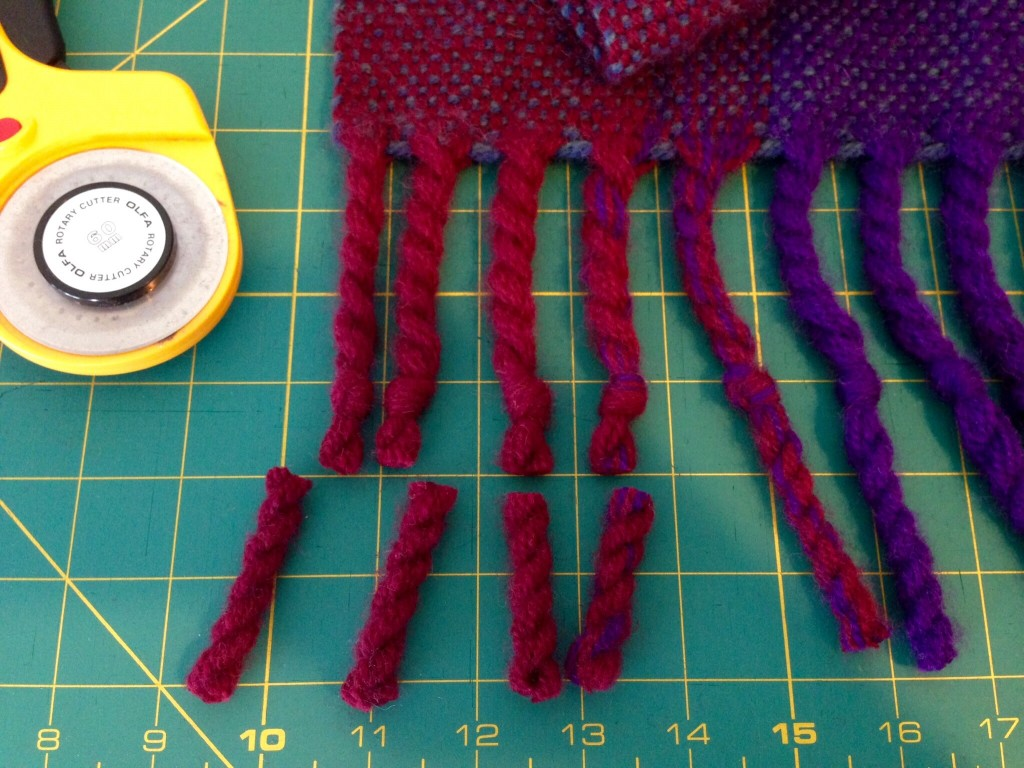 Finishing fringe on wool blanket. Video with more info.