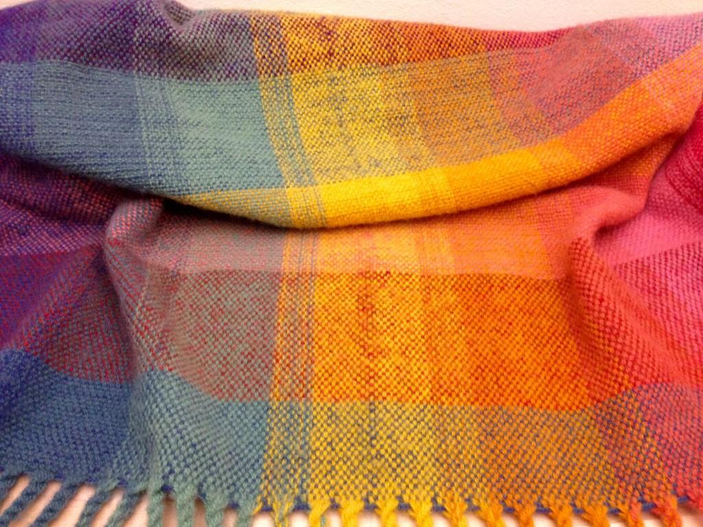 Detail of fold of double-width blanket.