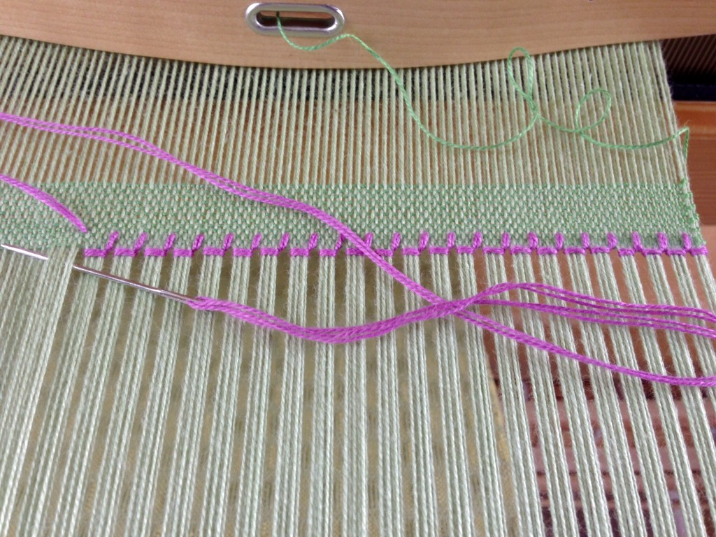 First step of hemstitching. Tutorial.