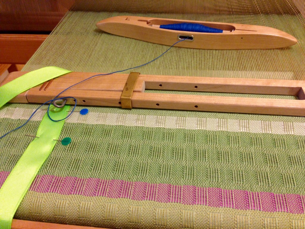 Cotton puckered scarf on the loom. Springtime colors!