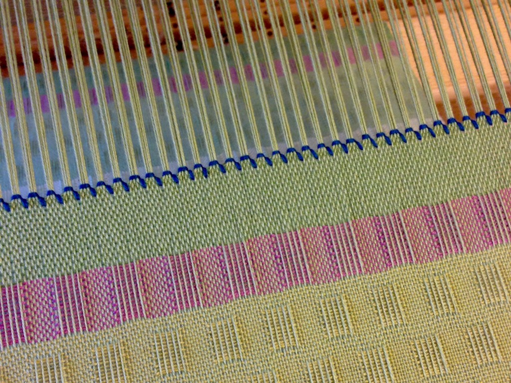 Bold hemstitching at end of cotton lace weave scarf. Karen Isenhower