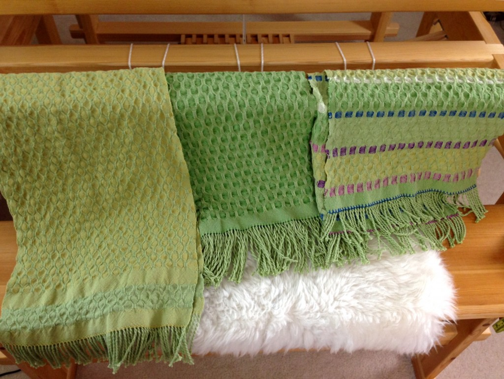 Three cotton lace weave scarves, and fringe twisting video. Karen Isenhower
