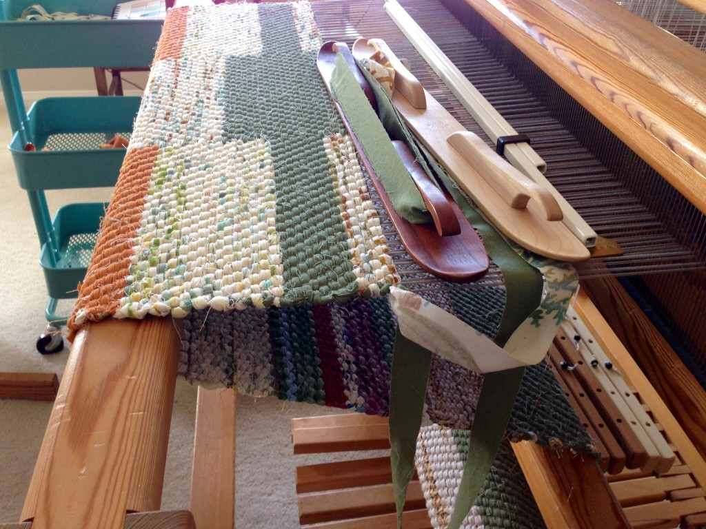 Double binding twill rag rug on the loom. Karen Isenhower
