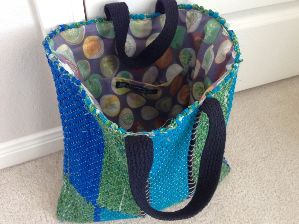 Finished rag rug tote bag! Karen Isenhower