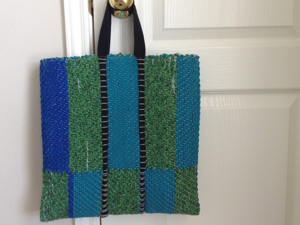 Rag rug bag, with handle woven in. Karen Isenhower