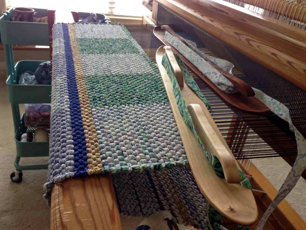 Double binding rag rug on the loom. Karen Isenhower
