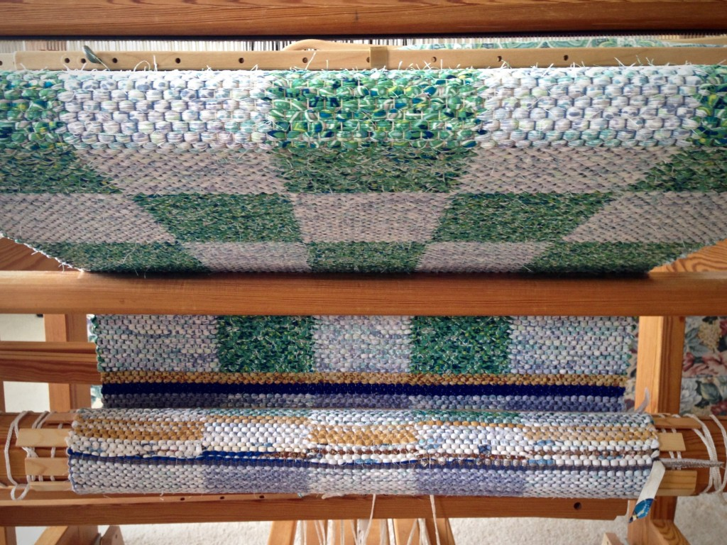 Rag rug on the loom. Nearing completion.