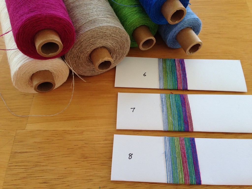 More color wrapping to plan linen warp.