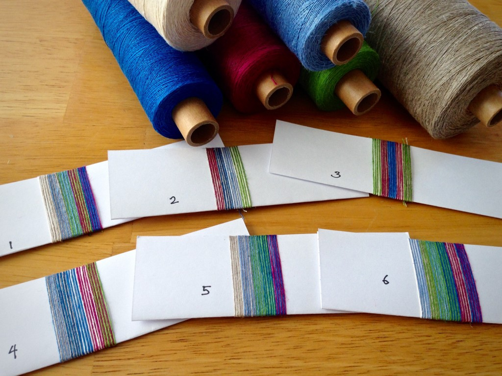 Color wrapping with linen to plan warp.
